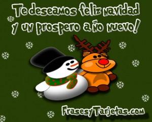 tarjeta de navidad, reno y muñeco de nieve