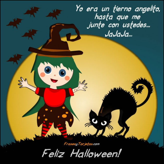 Feliz Halloween con Brujita y Gato
