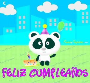 Tarjeta de cumpleaños osito panda