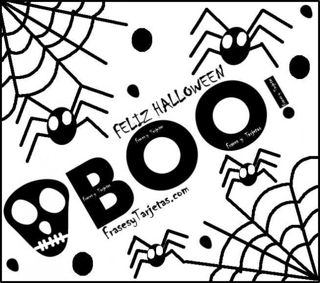 frases y tarjetas de feliz halloween boo susto