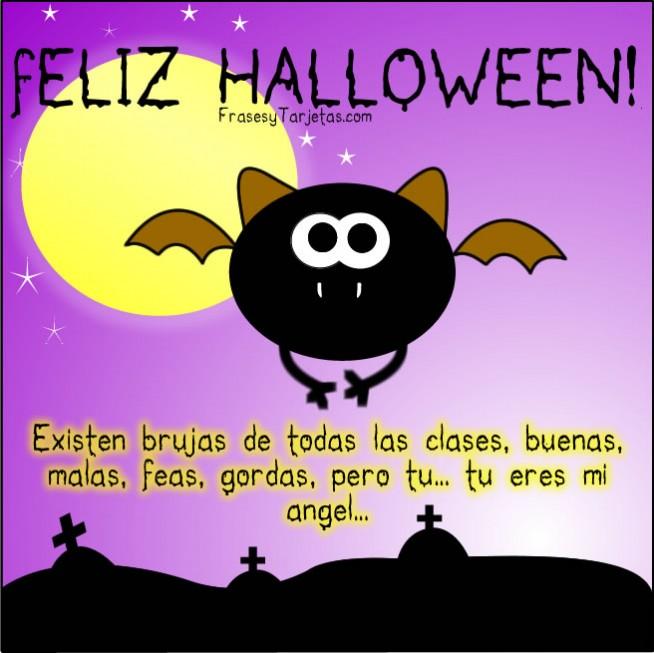 frases y tarjetas de feliz halloween murciélago