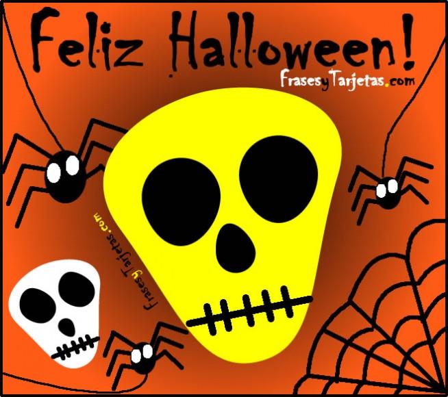 frases y tarjetas de feliz halloween calavera
