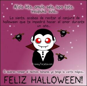 Feliz Halloween con drácula y murciélago