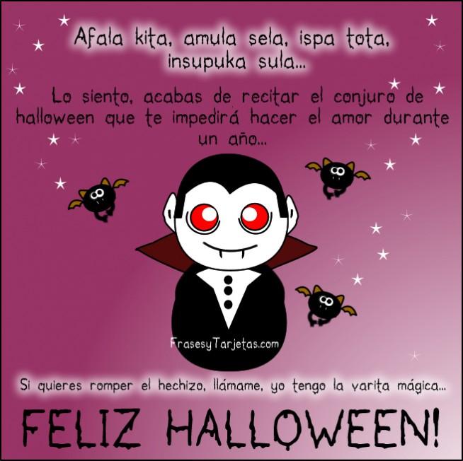 frases y tarjetas de feliz halloween drácula y murcielago con mensaje
