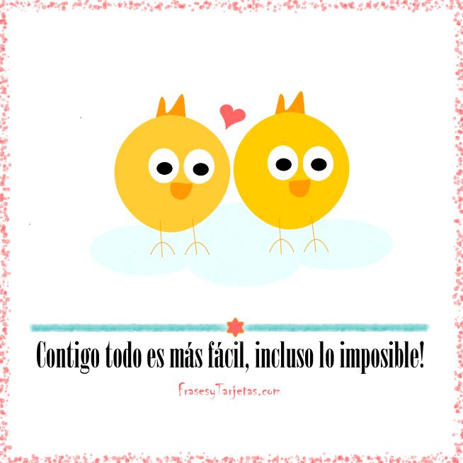 Tarjeta de San Valentin - Pollitos | frasesytarjetas.com