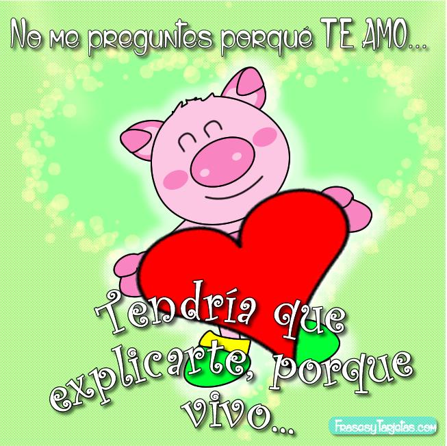 Imagen Con Frase Corta De Amor Chistosa Con Un Marranito